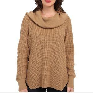 Michael Kors Cowlneck Tan Knit Sweater M EUC